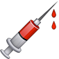 Syringe with blood dripping